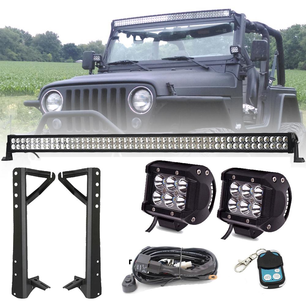 light bar mount bracket 4 inch cree pods for 07 15 jeep jk ebay. Black Bedroom Furniture Sets. Home Design Ideas