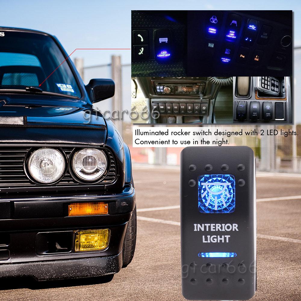 12v blue led 5 pin car interior light rocker switch on off relay wiring harness ebay. Black Bedroom Furniture Sets. Home Design Ideas