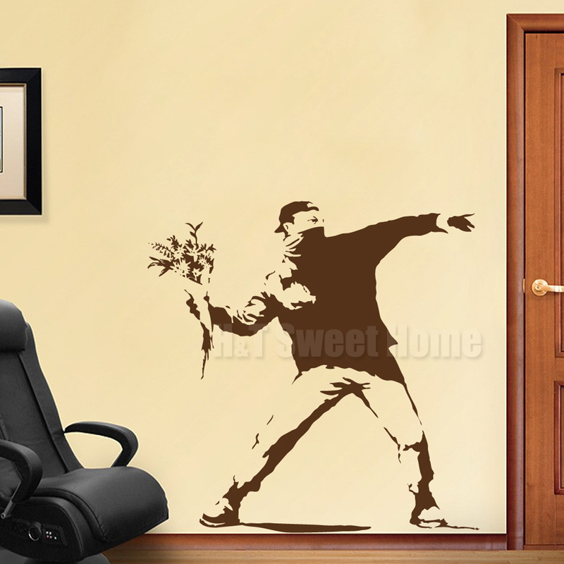 Banksy Flower Thrower Street Graffiti Vinyl Wall Sticker Decal Mural ...