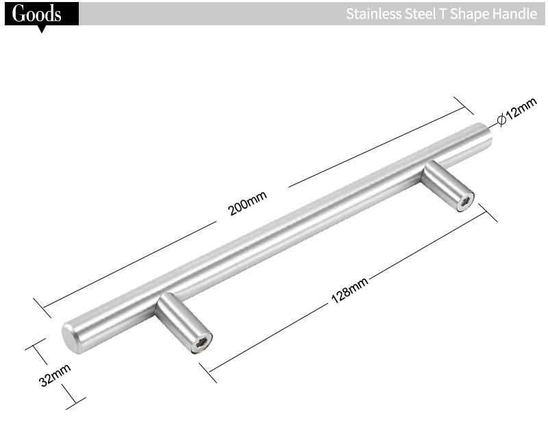 12mm edelstahl kuchenschrank drehgriff t bar schublade tur for Edelstahl küchenschrank