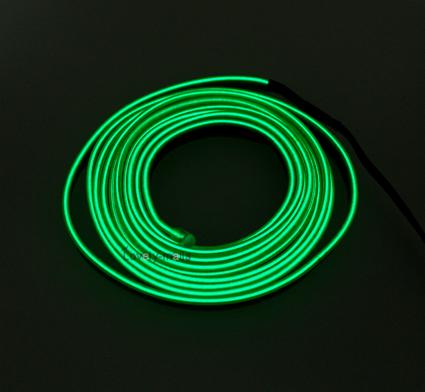 2m green el wire car interior decor fluorescent neon cold strip light fit dodge ebay. Black Bedroom Furniture Sets. Home Design Ideas