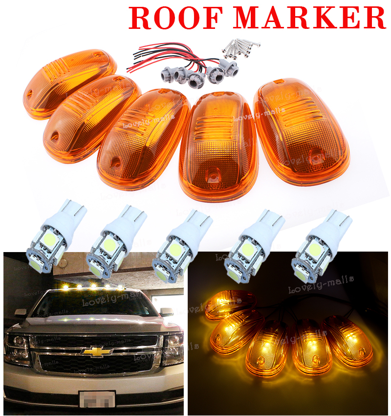 5pcs Classic Amber Cab Roof Marker Running Lamps Led Light