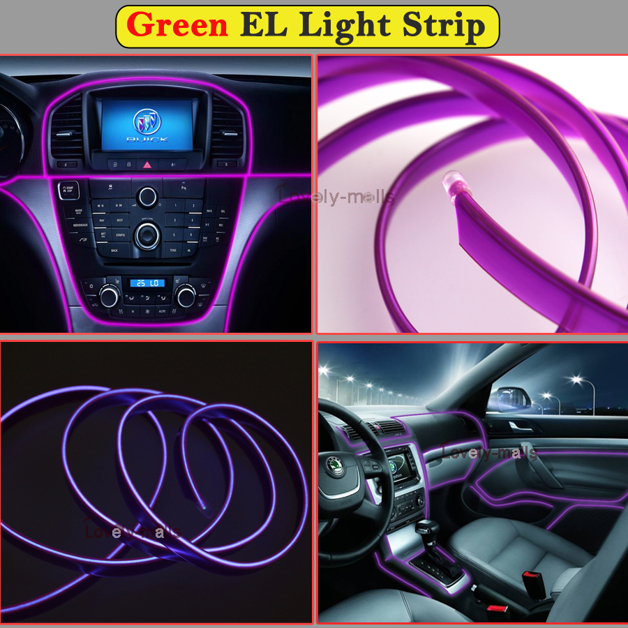 2m purple el wire car interior decor fluorescent neon cold strip light fit ford. Black Bedroom Furniture Sets. Home Design Ideas