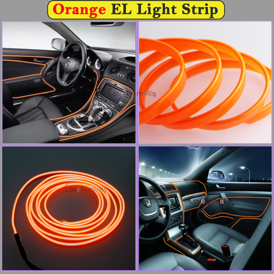 2m orange el wire car interior decor fluorescent neon cold strip light fit honda 658126376532 ebay. Black Bedroom Furniture Sets. Home Design Ideas