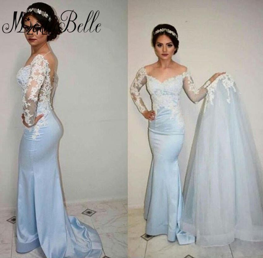 Prom Dress With Detachable Train: Saudi Arabia Mermaid Prom Dresses With Sleeve Detachable