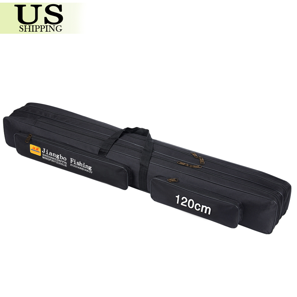 Fishing rod case bag holder two layer travel organizer for Fishing pole case