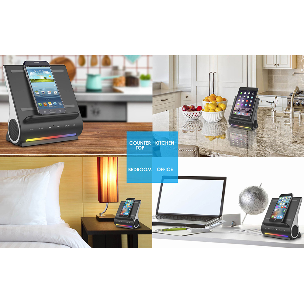bluetooth speaker qi charger stand dock wireless fast charging pad for samsung. Black Bedroom Furniture Sets. Home Design Ideas